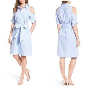 DRAPER JAMES Cold Shoulder Shirt Dress NWT 10